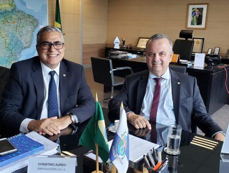 Em visita ao Ministério do Desenvolvimento Regional, Christino Áureo discute interesses de municípios fluminenses afetados pelas chuvas